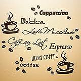 WANDfee Wandtattoo Coffee 80cm x 70cm Cafe Kaffee Küche Spruch Sprüche Tassen Bohnen …