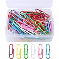 kuou 100 Pcs Coloured Paper Clips, Plastic-Coated Metal Paperclips Paper Clips Clamps with Box for Office School…