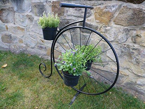 Negro metal Penny Farthing bicicleta soporte de plantas maceta (capacidad para 3macetas