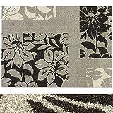 Design Teppich Lily | moderner Wohnzimmerteppich mit Trend Blumen Muster | in 2 Größen für Wohnzimmer, Esszimmer, Schlafzimmer etc. | grau 160x220 cm