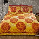 Pizza Double Bed Quilt Duvet Cover and 2 Pillowcase Bedding Bed Set Novelty Funky Food