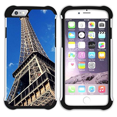 Graphic4You Paris Frankreich Eiffelturm Design Hart + Weiche Kratzfeste Hülle Case Schale Tasche Schutzhülle für Apple iPhone 6 Plus / 6S Plus Design #1