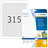 Herma 4385 Universal Etiketten rund, ablösbar (ؘ˜ 10 mm) weiß, 7.875 Aufkleber, 25 Blatt DIN A4 Papier matt, bedruckbar, selbstklebend, Movables
