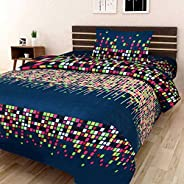 RS Home Furnishing Combo Glace Cotton Single Bedsheet and 1 Pillow Cover (Multicolour, 60x90)