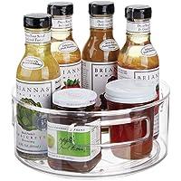 mDesign plateau tournant pour épices, huiles, etc. – carrousel cuisine en plastique et métal avec rebords élevés…