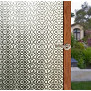 Arthome Frosted Decorative Privacy Window Films No Glue Self Static Cling Anti UV Non-Adhesive Removable for Bathroom Living Room Bedroom Kitchen Office Home (AH033, 35.4 x 100 inch)