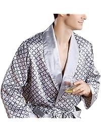 Men's Bathrobe,100% Silk Satin Robe,Sexy&Comfortable Sleepwear Long Classic Robe