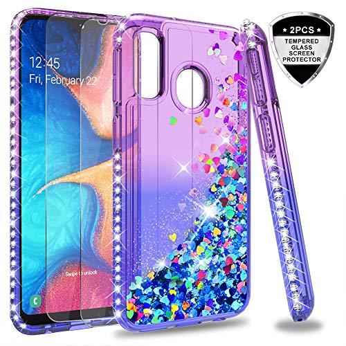 LeYi Hülle Galaxy A20e Glitzer Handyhülle mit Panzerglas Schutzfolie(2 Stück), Diamond Cover Bumper Schutzhülle für Case Samsung Galaxy A20e Handy Hüllen ZX Purple Blue (Case Samsung Für Handy 2)