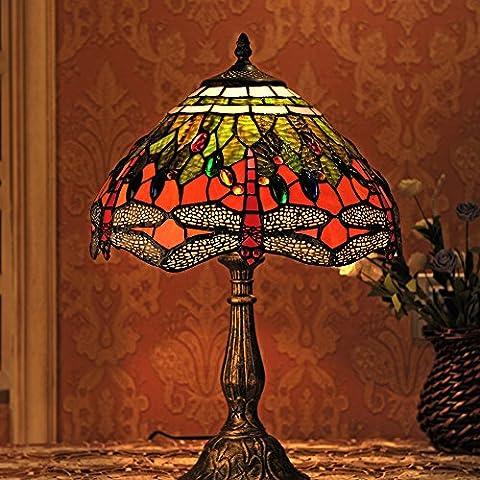 Gweat Tiffany 12 pollici dell'annata europea di stile di vetro macchiato Libellula E Perla calda colorata serie lampada da tavolo lampada da tavolo del lato del letto della luce