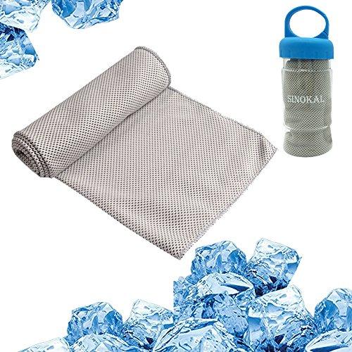 Kühles Handtuch kühlen Tuches Sinokal Chilly Microfaser Sofortige Kühlentlastung Bleiben Sie cool für Golf Yoga Fitness Fitnessstudio Baseball Übung(grau)