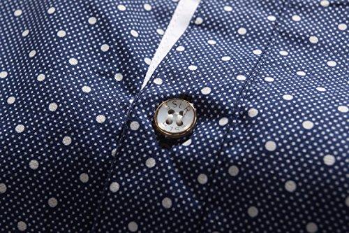 SSLR Herren Baumwolle Punkt Kurzarm Slim Fit Business Hemd Blau