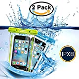 [IPX8 Certificado] iVoler [2 Pack] Funda Bolsa Móvil Impermeable Universal 6 Pulgadas para iPhone 7, 7 Plus,6 / 6s Plus, SE 5S 5C, Samsung Galaxy S7/S7 Edge/S6/S6 Edge/Edge+, etc. (Azul+Verde)