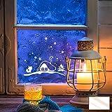ilka parey wandtattoo-welt® Fensterbild Fensteraufkleber Weihnachten Sterne mit Fuchs und Häuschen Weihnachtsdeko M1235 ausgewählte Farbe: *milchglas*