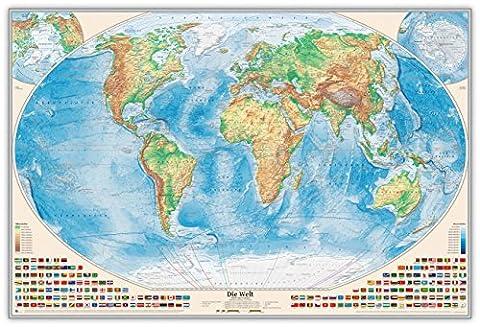 Physische Weltkarte als Pinnwand im silbernen Alurahmen, Größe 120 x 80 cm, Aktuell: Stand 2016,