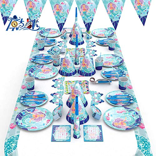 (Yansy Meerjungfrauen-Party-Set – Ultimate Under The Sea Geburtstagsteller, Cupcake- und Kuchendekoration, Tischdecke, Party-Einladungen)