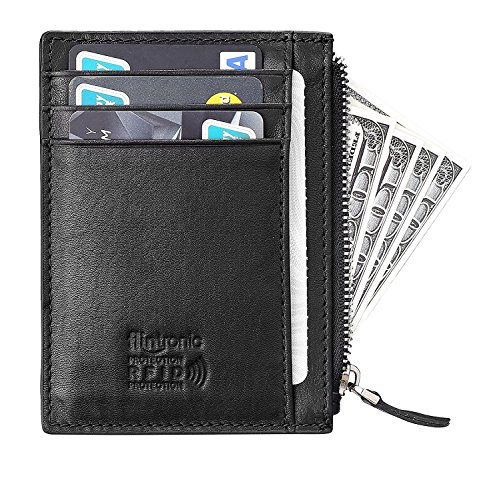 flintronic Credit Card Wallet, RFID Blocking Genuine BLACK Leather Card Holder Anti Theft (6 card slots & 1 ID/Photo window) Slim Pocket Purse for Men & Women