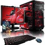 """VIBOX Warrior 4 - Ordenador para gaming (21.5"""", AMD FX-6300, 8 GB de RAM, 1 TB de disco duro, AMD Radeon R7 370) color neón rojo - Teclado QWERTY Inglés"""