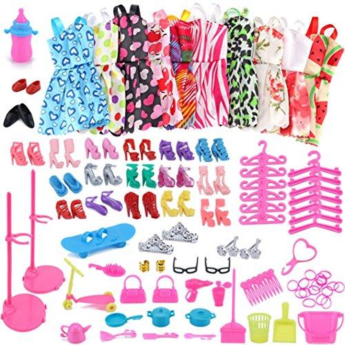 LCLrute 83PCS / 1Set Barbie Dress Up Kleidung viel billige Puppe Zubehör handgemachte Kleidung (Lila)