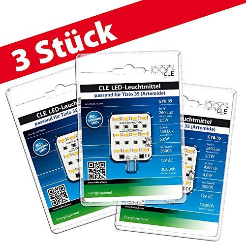 3x LED Ersatzleuchtmittel für Artemide Tizio 35 12V GY6.35 3000K 6 Watt (35 Watt) -