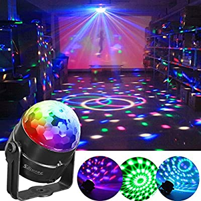 SOLMORE 5W Mini Disco Lights Party Lights Disco Ball Lights 7 Colors RGB Sound Activated LED DJ Stage Lights Rotating Lighting Effect for Kids Party Dance Birthday Wedding KTV