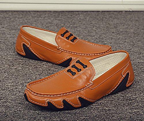 Mocassin homme chaussure loafers conduit basket mode cuir nubuck confortable Orange