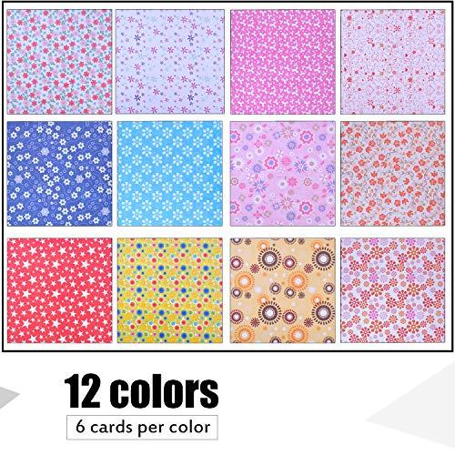 BronaGrand Origami Papier Set 72 Blatt Faltpapier Bastelpapier (15 x 15 cm) Quadratisch Einseitig Origami Papier mit Wunderschönen Mustern zum Basteln Sie Blumen, Kraniche, Eulen, Drache