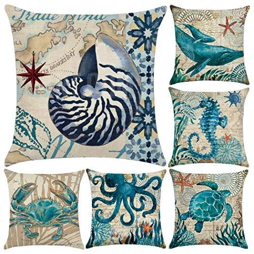 Confezione da 6cotone lino stile mediterraneo throw Pillow case, Ocean Theme decorativo quadrato cuscino 45,7x 45,7cm (cover solo, senza inserto) Sea Theme 1