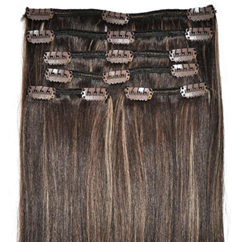 FULL HEAD, Real Clip-in Hair Extensions - 100% Remy, Triple Weft, Thick Human Hair, (16 inch, 120g, #4/18 - Dark Brown, Brunette, Golden Blonde Highlights) -