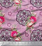 Soimoi Rosa Viskose Chiffon Stoff Rose & Mandala dekorativ
