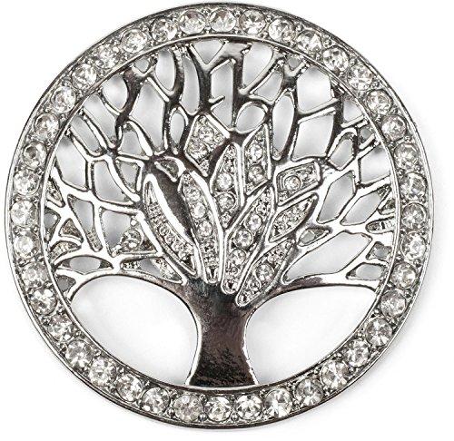 styleBREAKER Lebensbaum Magnet Schmuck Anhänger für Schals, Tücher oder Ponchos mit Strassteinen, Brosche, Damen 05050029, Farbe:Silber