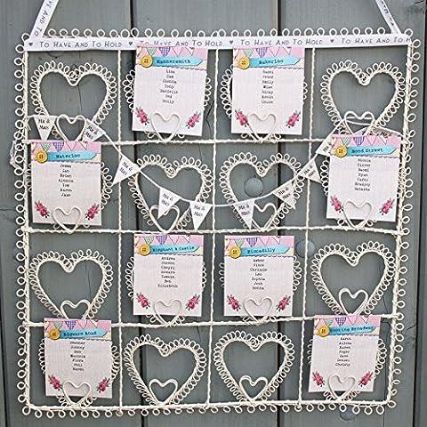 Cadre carré avec coeurs effet vintage pour plan de table de mariage ou photo Crème