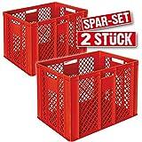 2x Euro-Stapelbehälter, LxBxH 600 x 400 x 410 mm, lebensmittelecht, Boden und Wände durchbrochen, rot