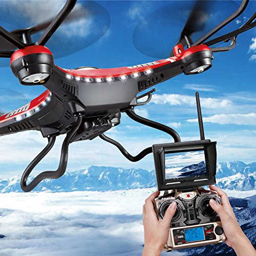 Preisvergleich Produktbild G-Lighting® JJRC H8D 4-Kanal 2,4 GHz RC Quadrocopter Gyro mit integriertem 6 Axis Gyro System ascend/descend/forward/backward/side flying/360°rolling action/hover/3D/LED/2.0MP-HD-Kamera/5.8G transmission/CF mode/One key return-möglich Nachtfliegen (Ein Pack+2pcs 500mAh Batterie+4pcs Blades)