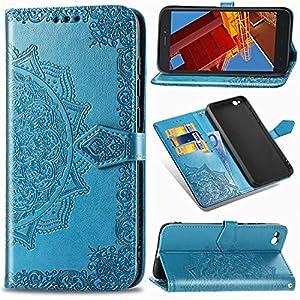 Funda para Xiaomi Redmi Go, Carcasa Libro con Tapa Flip Case Antigolpes Golpes Cartera PU Cuero Suave Soporte con Correa Cordel - Mandala Azul