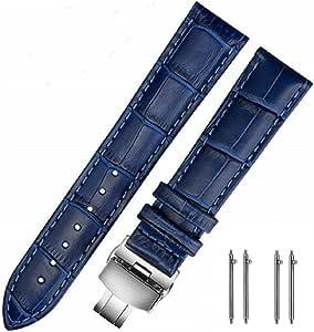 MUEN Cinturini di Ricambio Vera Pelle Cinturino Barre Rapido Rilascio Fibbia Pieghevole Nero/Marrone/Blu 18mm 20mm 22mm 24mm per Uomo/Donna