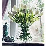 20 Stück Tulpe künstliche Blume Latex Real Touch Bridal Wedding Bouquet Home Decor (Weiß) - 3