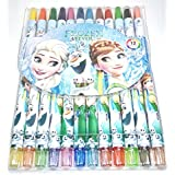 Kids Colorful Twist Up SMOOTH Rolling Crayons : Pack Of 12 (Elsa-Frozen)