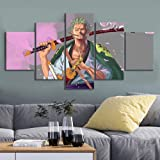 bnkrtopsu 5 pièces Photo sur Toile 5 Sets de Tableaux imprimés Haute définition Art déco et Affiches Anime One Piece Roronoa