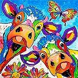 Riou DIY 5D Diamant Painting Voll,Stickerei Malerei Crystal Strass Stickerei Bilder Kunst Handwerk für Home Wand Decor Gemälde Kreuzstich Tier-Serie Cartoon Kuh Bild Muster (Mehrfarbig E, 30 * 30cm)