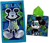 "2 tlg. Set _ Strandtuch + Badeponcho - "" Disney Mickey Mouse "" - 70 cm * 140 cm - Frottee / Velours - 100 % Baumwolle - Handtuch / Badetuch - Poncho - Mädchen - 70x140 für Kinder - Badehandtuch - Saunatuch - Saunahandtuch / Kinderbadetuch - Kinderstrandtuch - Strandlaken - Maus / Mäuse - Playhouse - Micky - Comic Figur"