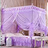 KAMIERFA 4 Corner Post Bed Canopy Mosquito Net With Frames Insect Bug Protection £¨Purple Full/Queen Sized£©
