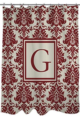 Manuelle holzverarbeiter & Weavers Vorhang für die Dusche, Monogramm Buchstabe G, Crimson Damast (Burgund Badezimmer Fenster Vorhänge)