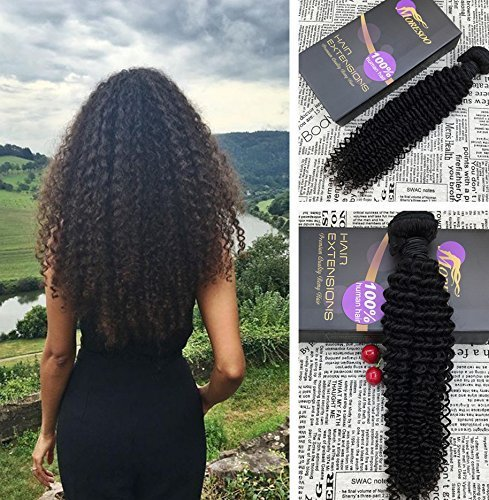 Moresoo 14pollice/35cm remy human hair curly brasiliana weave afro ricci/kinky curly #1b weaving extension capelli naturali extension tessitura capelli veri umani hair 100gr