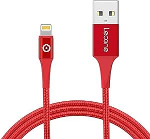 Lecone Cavo Lightning a USB, 2M Cavo di Ricarica USB Certificato Apple Mfi Intrecciato in Nylon Compatibile con iPhone XS Max XR X 8 7 6s 6 Plus, iPad Air, Mini, iPod Nano Touch (Rosso)