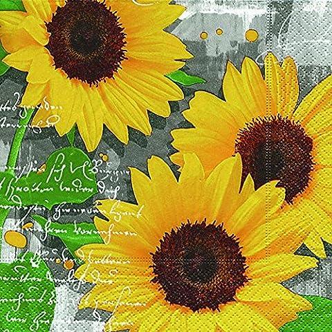 Lunch tovaglioli tovagliolo 33x 33cm (Garden Sunflowers) girasoli autunno cottura Primavera Estate Pasqua girasoli animali frutti da giardino