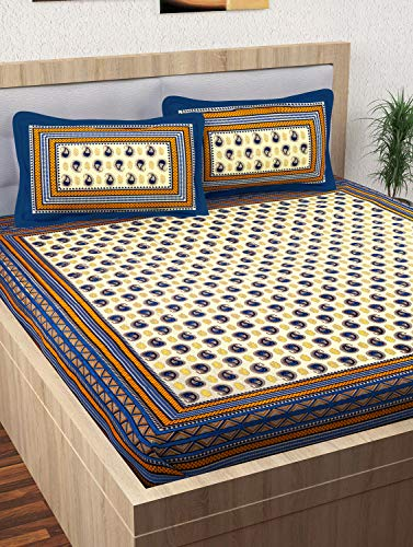 Story@Home Pearl Rajasthani Jaipuri Collection 100% Cotton Double Bedsheet with 2 Pillow Covers, 120 TC - Geometric and Paisley Pattern (Blue)