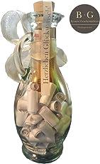 Geldgeschenk kreativ und originell verpacken, personalisierbar (kleine Flasche mit Sprüchen und Zitaten zur Hochzeit & zum Valentinstag, Geburtstag, Dankeschön Geschenke), Silber mit extra Streifen