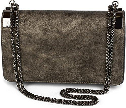 styleBREAKER Clutch, Abendtasche mit Metallspangen und Gliederkette, Vintage Design, Damen 02012046, Farbe:Antik-Dunkelgrau -