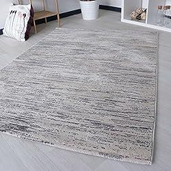 –Alfombra pelo corto para salón en gris a rayas grafisch Designer para jóvenes habitaciones/salón/dormitorio en varios. tamaños, gris, 120 x 170 cm