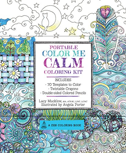 Portable Color Me Calm Coloring Kit: Includes Book, Colored Pencils and Twistable Crayons (Zen Coloring Book)